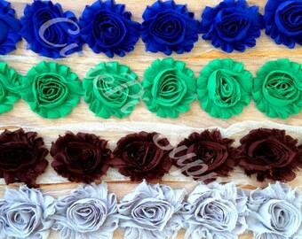 "2.5"" Shabby Flower Chiffon Shabby Chic Rosette Trim Headband Supply - Set of 4 - Choose Your Color"