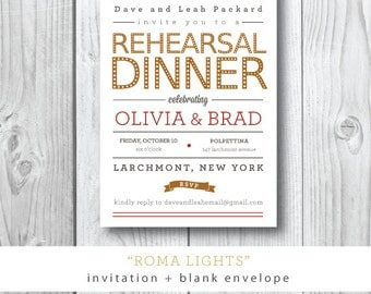 Roma Lights Printed Rehearsal Dinner | Wedding Rehearsal Dinner or Party Invitation |  Printed or Printable by Darby Cards