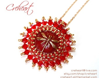 Red Golden Pendant, Czech Button, Swarovski, Gold Plated chain, Dragonfly necklace - Creheart - Bridesmaid, Birthday, Anniversary gift