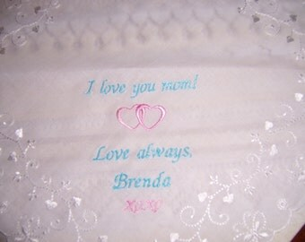 """Hearts and Butterfly Hankie for MOM ---  Wedding, Birthday, or Just Because.....  Say """"I LOVE You MOM"""" with a beautiful hankie"""