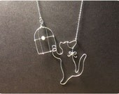 Cat and Birdcage - Sterling Silver Pendant Necklace, w/Fresh Water Pearl, Cat necklace, Pearl Necklace