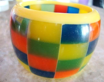 S A L E HUGE Sandwiched CHECKERBOARD LAMINATED Hand Made Orange Blue Yellow And Green Highly Translucent Heavy Superb Resin Bangle Bracelet