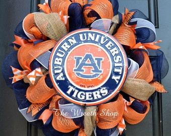 Deco Mesh Auburn Wreath - Auburn Wreath - Collegiate Wreath