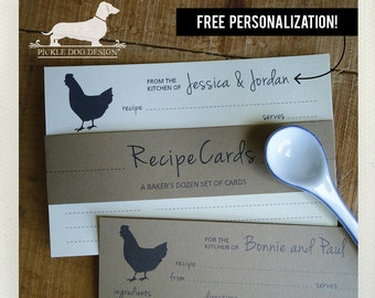 Chicken. Free Personalization. A Baker's Dozen (Qty 13) Set of Recipe Cards -- (3x5, 4x6, Rustic, Farm, Wedding Gift, Bridal Shower Favor)