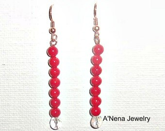 """Bohemian Earrings: Genuine Cherry Red Coral, Swarovski Elements Set On Copper """"Shimmering Ocean Princess""""  by ANena Jewelry"""