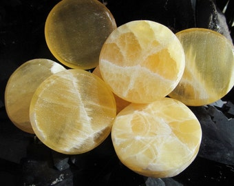 Honeycomb Calcite Sun Disc Soothing Stone #H70