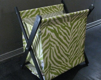 SALE ~ Green Zebra Print Pet Toy Hamper with black frame