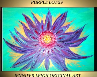 Original Large Abstract Painting Modern Contemporary Canvas Art Turquoise Purple LOTUS Flower 36x24 Palette Knife Texture Oil J.LEIGH