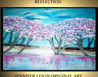 Original Large Abstract Painting Modern Contemporary Canvas Art Blue Pink White REFLECTION Trees 36x24 Palette Knife Texture Oil J.LEIGH
