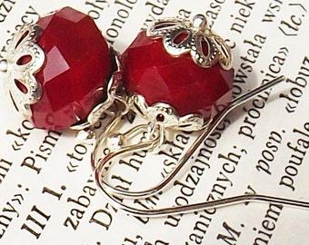 Red Earrings, Red Glass Earrings, Glass Bead Earrings, Beaded Jewelry, Wedding Earrings, Red Bead Earrings,