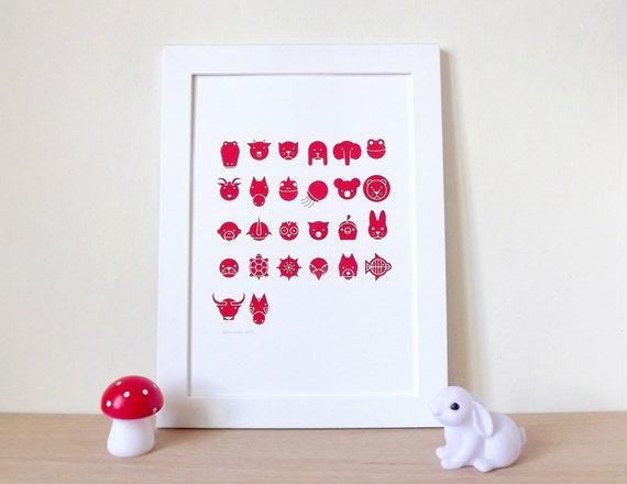 Animal Alphabet Screenprint, Nursery Art, Babies Bedroom, Animal Illustration, Red Screenprint, Kids Bedroom Art, Red Print, Poster Art