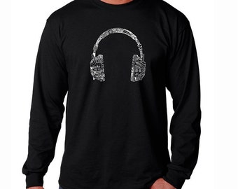 Men's Long Sleeve T-shirt - Created using the word Music in different Headphones - Languages