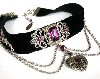 Black Velvet Choker Gothic Choker Purple Swarovski Choker Heart Locket Necklace Choker Victorian Choker Gothic Jewelry