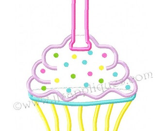 Instant Download - First Birthday Design - 1st Birthday Cupcake Embroidery Applique Design - Cupcake with Number 1 4x4, 5x7, 6x10 hoop sizes