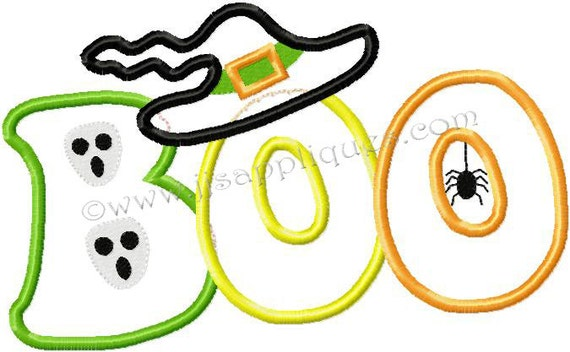 Instant Download - Halloween Embroidery Applique Designs - BOO with Skulls Witch Hat and Spider 4x4, 5x7, 6x10 hoop sizes
