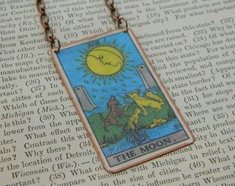 Tarot necklace or pendant tarot jewelry The Moon mixed media jewelry supernatural
