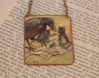 Crow jewelry Arthur Rackham necklace wearable art crow necklace