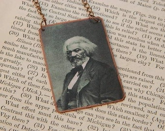 Frederick Douglass necklace mixed media jewelry activist historic African American hero