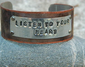 Inspirational bracelet Listen to Your Heart Inspirational jewelry quote jewelry