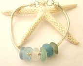 Genuine Sea Glass bracelet troll bead  sterling plated chain free shipping