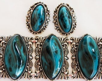 Chunky Turquoise Marbled Lucite Bracelet Earring Set