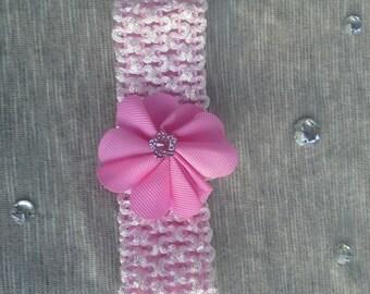 Newborn-Infant Pink Crochet Headband with Flower