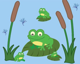 Nursery Wall Decals, Kids Wall Decals, Frog Wall Stickers & Pond Wall Decals