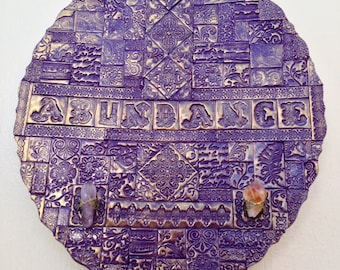 Abundance mixed media polymer clay mosaic wall art with amethyst and citrine