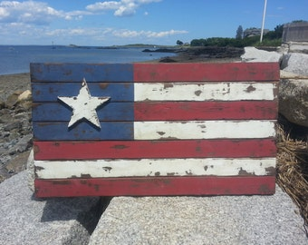 Rustic Americana Flag, old patriotic sign, old American flag