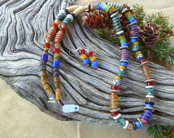 31 Inch Chunky Indonesian and African Glass Necklace with Earrings