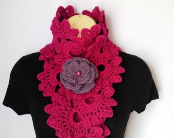 Crochet Scarf/ Neckwarmer, flower brooch, Women Accessories ,шарф, sjaal, bufanda, cachecol, sciarpa, Schal, foulard, echarpe