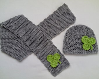 Crochet Baby Toddler Kids Hat and Scarf Set gift grey green