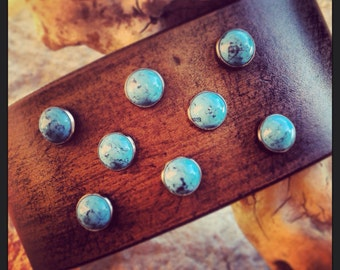 Rustic Leather Wristband with Turquoise / Made for Pearl Jam's Eddie Vedder by DGierat