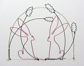 Wire drawing - Hares / Rabbits among flowers - wall hanging / mobile