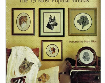 Best Loved Dogs The 13 Most Popular Breeds  / Cross Stitch Book / Leisure Arts Leaflet 554