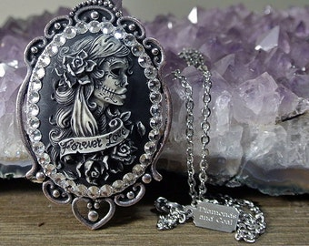 Sugar Skull Lolita Lady Cameo - Forever Love - Day of the Dead necklace - Dia de Los Muertos Jewelry