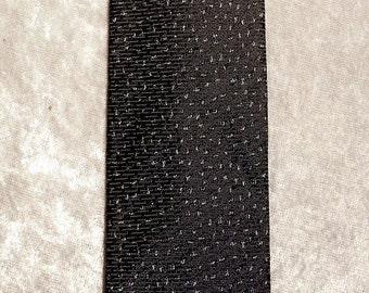 Metallic Necktie Narrow Square Blue on Black wSilver