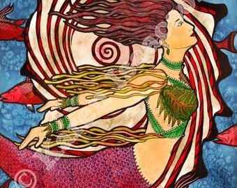 SEASHELL MERMAID A print from an original watercolor by Karen Isaacson