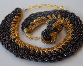 Vintage Necklace Clip On Earrings Glass Seed Beads Statement Brown Gold Adjustable Collar Choker 1950's // Vintage Costume Jewelry