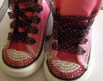 High top converse with hand placed jewels