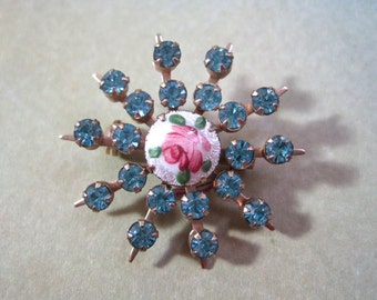 Starburst Guilloche Brooch Blue Rhinestone Pink Rose Estate Glass Snowflake Flower Brilliant Silvertone Vintage
