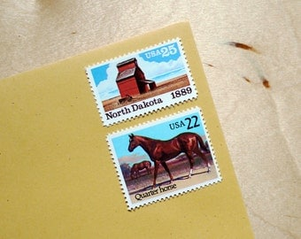 A Farm In North Dakota - Vintage unused postage stamps to post 5 letters - or use in scrapbooking and crafts