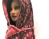 hood, hoodie scarf, hood, hoodie, scoodie, scood, pink, black lace