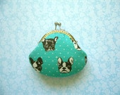 SHOP CLOSING SALE  French Bulldog Small Coin Purse - Handmade gift - Metal frame clutch purse - Japanese kawaii fabric - Gifts Under 20