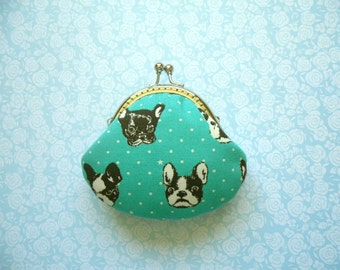 French Bulldog Small Coin Purse - Handmade gift - Metal frame clutch purse - Japanese kawaii fabric - Gifts Under 20