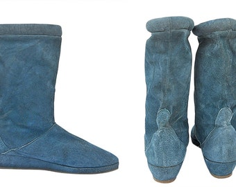 Wedge Heel Boots Teal Boots Leather Boots Womens Winter Boots Womens Fall Boots 70s Boots 80s Boots Suede Boots Indie Boots Warm Boots