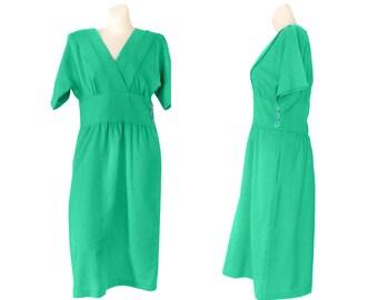 Kelly Green Dress Ladies Green Dress Green Day Dress Casual Green Dress Size 8 Knee Length Dress Women Spring Dress Short Sleeve Dress