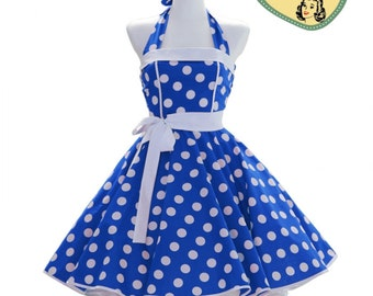 50's vintage dress full skirt royal blue white polka dots classic Tailor Made after your measurements #0032