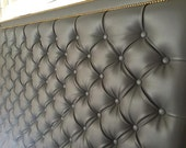 Diamond Tufted Grey Faux Leather With Double Nailhead Border (King, Extra Tall)