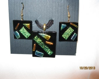 Fused Dichroic Glass Pendant and Earrings - Item 1-1697